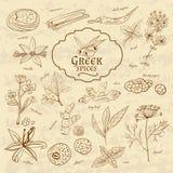 Ensemble de cuisines Grèce d'épices sur le vieux papier dedans illustration stock