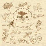 Ensemble de cuisines Turquie d'épices et d'herbes sur vieux illustration stock