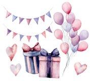 Ensemble de décor d'anniversaire d'aquarelle Boîte-cadeau peints à la main avec des rubans, guirlandes de drapeau, ballons à air  illustration stock