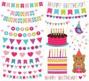 Ensemble de décoration de fête d'anniversaire d'enfant illustration stock