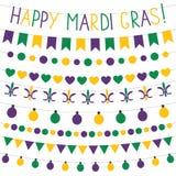 Ensemble de décoration de Mardi Gras Image libre de droits
