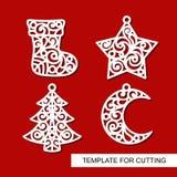 Ensemble de décoration de Noël : chaussette, étoile, arbre de Noël et croissant illustration libre de droits