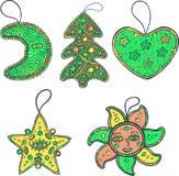 Ensemble de décoration de Noël pour l'arbre de Noël - étoile, lune, le soleil Images stock