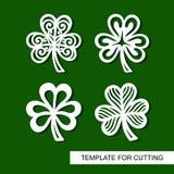 Ensemble de décoration pour le jour du ` s de St Patrick Collection d'oxalide petite oseille à jour Icône de trèfle illustration de vecteur