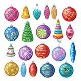Ensemble de décorations de Noël de vintage, de boules de vecteur et de jouets Photographie stock