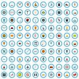 ensemble de démarrage de 100 icônes de récréation, style plat illustration libre de droits