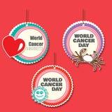 Ensemble de 3 danglers de conscience de cancer avec des coupes-circuit illustration stock