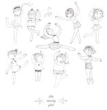 Ensemble de danser de jeunes filles, d'isolement sur le blanc, amusement, sorte, dans le studio de danse Enfants dans différentes illustration de vecteur