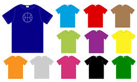 Ensemble de descripteurs de T-shirts de couleur Photo libre de droits