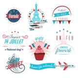 Ensemble de design de carte heureux de salutations de jour de bastille 14 juillet illustration créative de vecteur de Frances viv illustration de vecteur
