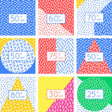Ensemble de design de carte d'étiquette de remise Éléments géométriques abstraits illustration libre de droits