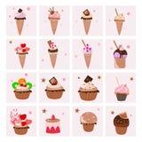 Ensemble de desserts délicieux illustration de vecteur
