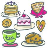Ensemble de desserts tirés par la main Illustration de vecteur Photo libre de droits