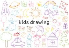 ensemble de dessin d'isolement d'enfants illustration stock