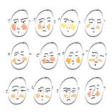 Ensemble de dessin de croquis de griffonnage d'icônes Les émotions de l'humain Éléments pour la conception Photographie stock libre de droits