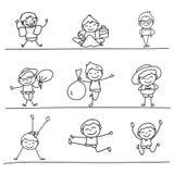 Ensemble de dessin de main d'enfants heureux Images libres de droits