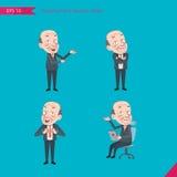 Ensemble de dessiner le style de caractère plat, activités de CEO de concept d'affaires - présentant, confiance, employé de burea Image libre de droits
