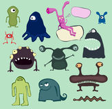 Ensemble de dessins animés pleins d'humour d'anomalie Photos libres de droits