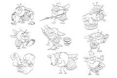 Ensemble de dessins au trait d'abeilles de bande dessinée Photographie stock libre de droits