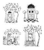 Ensemble de dessins de détails d'architecture trappes Image libre de droits