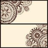 Ensemble de deux bannières horizontales avec le cercle brun Image stock