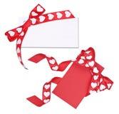 Ensemble de deux cartes avec l'arc des coeurs de ruban Images libres de droits