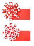 Ensemble de deux cartes avec l'arc des coeurs de ruban Photos stock