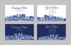 Ensemble de deux cartes de visite professionnelle de visite florales doubles faces Images libres de droits