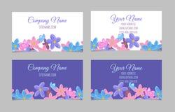 Ensemble de deux cartes de visite professionnelle de visite florales doubles faces Photo libre de droits