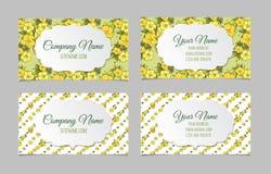 Ensemble de deux cartes de visite professionnelle de visite florales doubles faces Photographie stock