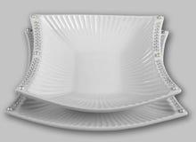 Ensemble de deux cuvettes décoratives de porcelaine Vue supérieure Images libres de droits
