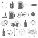 Ensemble de deux icônes de métier de bière de couleur Images libres de droits