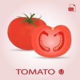 Ensemble de deux tomates mûres et coupées en tranches fraîches Photographie stock libre de droits