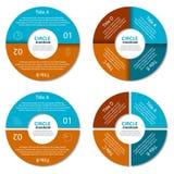 Ensemble de diagramme de cercle Concept d'affaires avec deux et quatre options Infographic rond Image stock
