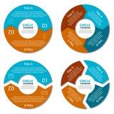 Ensemble de diagramme de cercle Concept d'affaires avec deux et quatre options Infographic rond illustration libre de droits