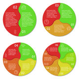 Ensemble de diagramme infographic rond Cercles de 2, 3, 4, 6 options Photos libres de droits