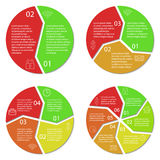 Ensemble de diagramme infographic rond Cercles de 2, 3, 4, 6 options Photo libre de droits