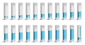 Ensemble de diagrammes bleus de pourcentage pour l'infographics, 0 5 10 15 20 25 30 35 40 Photographie stock