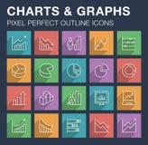 Ensemble de diagrammes et d'icônes de graphiques avec la longue ombre Photos libres de droits