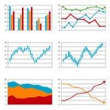 Ensemble de diagrammes, histogramme d'affaires Images stock