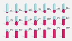 Ensemble de diagrammes roses rouges de pourcentage pour l'infographics, 0 5 10 15 20 25 30 35 40 45 50 55 60 65 70 75 80 85 90 95 illustration de vecteur