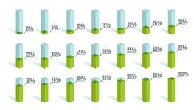 Ensemble de diagrammes verts de pourcentage pour l'infographics, 0 5 10 15 20 25 30 35 40 45 50 55 60 65 70 75 80 85 90 95 100 po Image libre de droits