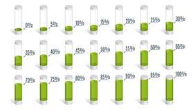Ensemble de diagrammes verts de pourcentage pour l'infographics, 0 5 10 15 20 25 30 35 40 45 50 55 60 65 70 75 80 85 90 95 100 po Photo libre de droits