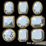 Ensemble de diamant blanc de gemmes de diverses formes Photo stock