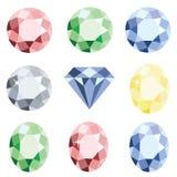 Ensemble de diamant en cristal de pierres précieuses de différentes couleurs Photos libres de droits
