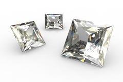Ensemble de diamants carrés - 3D Photo libre de droits
