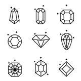 Ensemble de diamants et de cristaux d'isolement sur le blanc Ensemble de cristaux géométriques Image stock