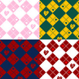 Ensemble de Diamond Chessboard Heart Valentine Background illustration stock