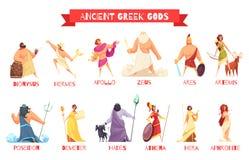 Ensemble de dieux du grec ancien illustration de vecteur