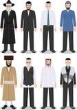 Ensemble de différent vieux juif debout et de jeunes hommes dans l'habillement traditionnel illustration libre de droits
